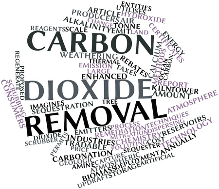 reduces: Abstract word cloud for Carbon dioxide removal with related tags and terms Stock Photo
