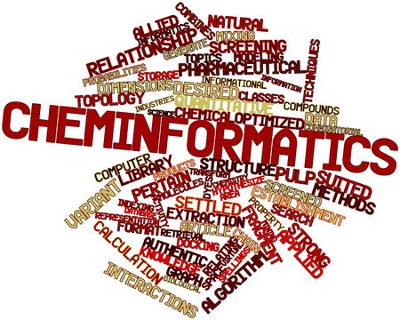 settled: Abstract word cloud for Cheminformatics with related tags and terms Stock Photo