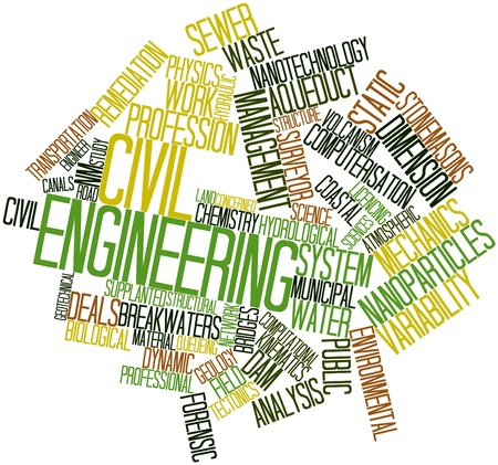 Abstract word cloud for Civil engineering with related tags and terms photo