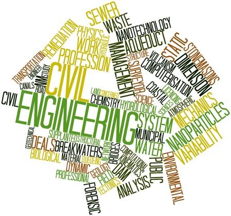 ingeniero civil: Nube palabra abstracta para la ingeniería civil con las etiquetas y términos relacionados