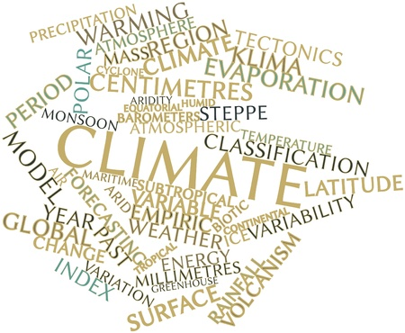 weather terms: Abstract word cloud for Climate with related tags and terms