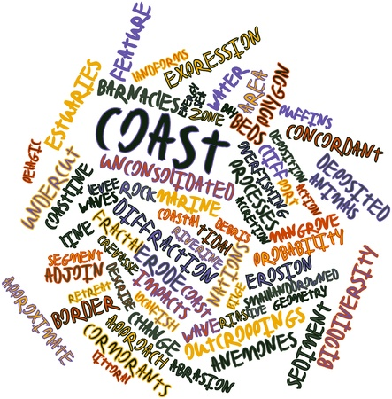 sediment: Abstract word cloud for Coast with related tags and terms Stock Photo