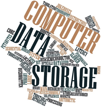 storage unit: Abstract word cloud for Computer data storage with related tags and terms Stock Photo