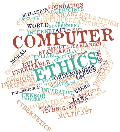 librarian: Abstract word cloud for Computer ethics with related tags and terms Stock Photo