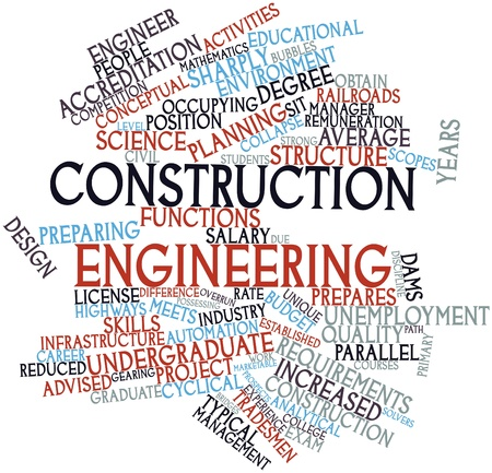overrun: Abstract word cloud for Construction engineering with related tags and terms