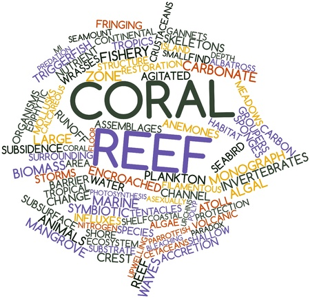monograph: Abstract word cloud for Coral reef with related tags and terms Stock Photo