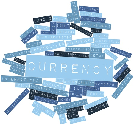 constituting: Abstract word cloud for Currency with related tags and terms