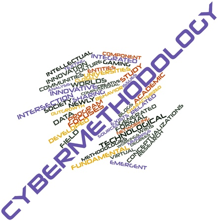 focuses: Abstract word cloud for Cybermethodology with related tags and terms Stock Photo