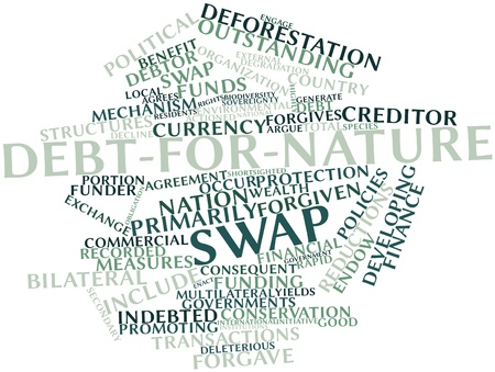 critique: Abstract word cloud for Debt-for-nature swap with related tags and terms Stock Photo