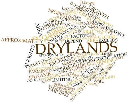 exceeds: Abstract word cloud for Drylands with related tags and terms Stock Photo