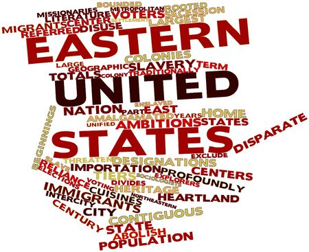 totals: Abstract word cloud for Eastern United States with related tags and terms Stock Photo