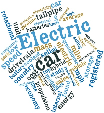mass storage: Abstract word cloud for Electric car with related tags and terms Stock Photo