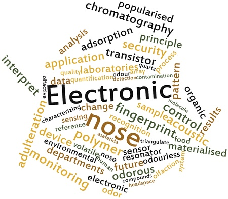 spoilage: Abstract word cloud for Electronic nose with related tags and terms Stock Photo