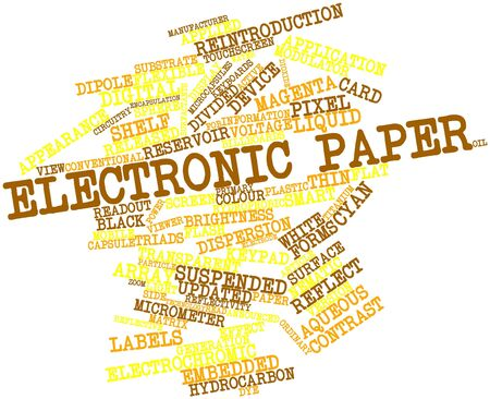 announced: Abstract word cloud for Electronic paper with related tags and terms Stock Photo