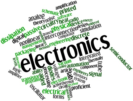 singly: Abstract word cloud for Electronics with related tags and terms Stock Photo