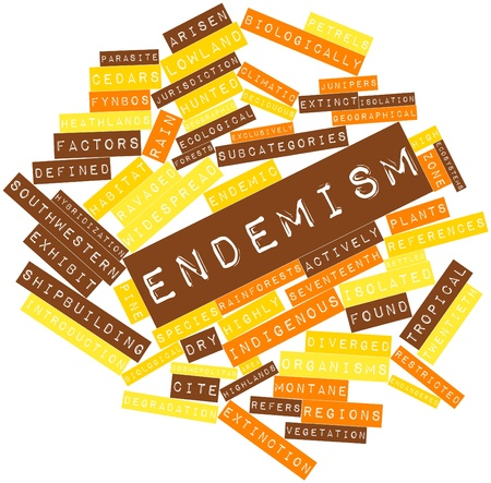 Abstract word cloud for Endemism with related tags and terms Stock Photo - 16500494