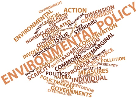 illogical: Abstract word cloud for Environmental policy with related tags and terms Stock Photo
