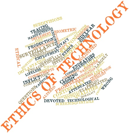 bioethics: Abstract word cloud for Ethics of technology with related tags and terms