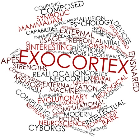 coined: Abstract word cloud for Exocortex with related tags and terms Stock Photo
