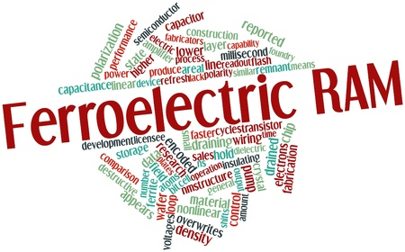 instrumentation: Abstract word cloud for Ferroelectric RAM with related tags and terms Stock Photo