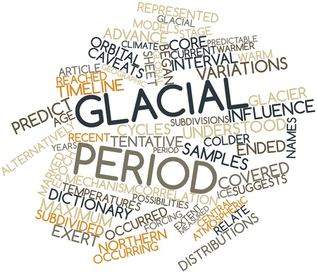 subdivided: Abstract word cloud for Glacial period with related tags and terms