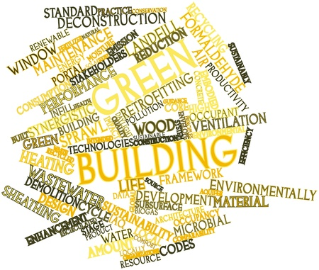 greenfield: Abstract word cloud for Green building with related tags and terms