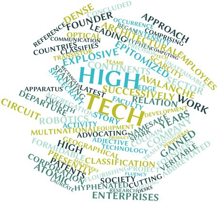abbreviated: Abstract word cloud for High tech with related tags and terms