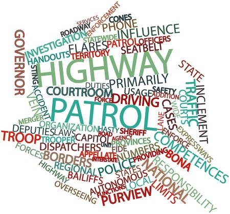 competences: Abstract word cloud for Highway patrol with related tags and terms Stock Photo