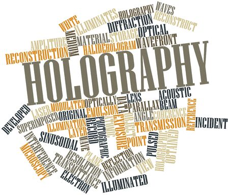 sinusoidal: Abstract word cloud for Holography with related tags and terms Stock Photo