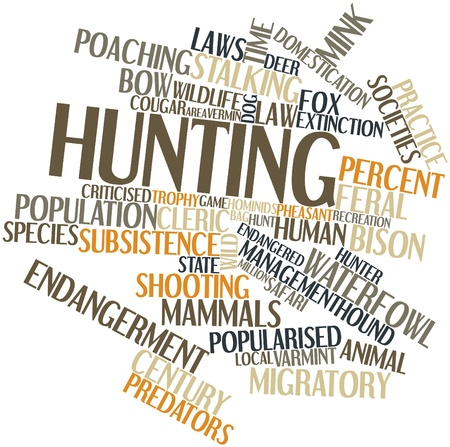 stalking: Abstract word cloud for Hunting with related tags and terms