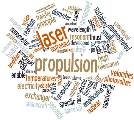 linearly: Abstract word cloud for Laser propulsion with related tags and terms Stock Photo
