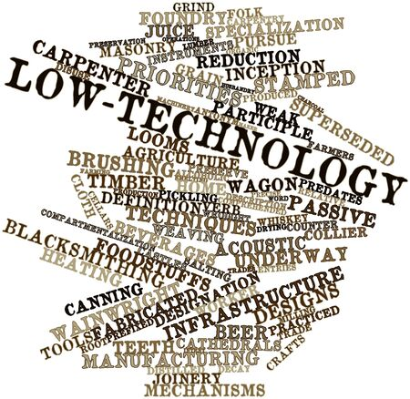 verb: Abstract word cloud for Low-technology with related tags and terms Stock Photo