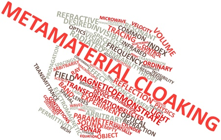 conserved: Abstract word cloud for Metamaterial cloaking with related tags and terms Stock Photo