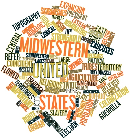 Abstract word cloud for Midwestern United States with related tags and terms