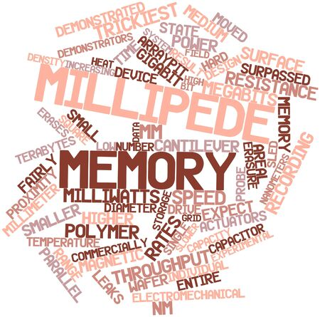 throughput: Abstract word cloud for Millipede memory with related tags and terms Stock Photo