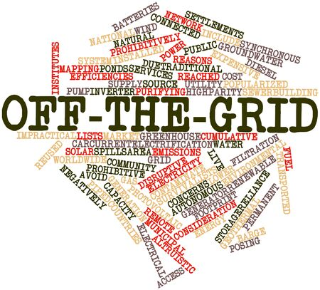 negatively: Abstract word cloud for Off-the-grid with related tags and terms Stock Photo