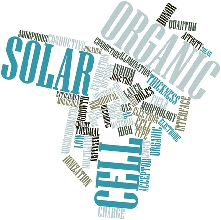 uniformity: Abstract word cloud for Organic solar cell with related tags and terms