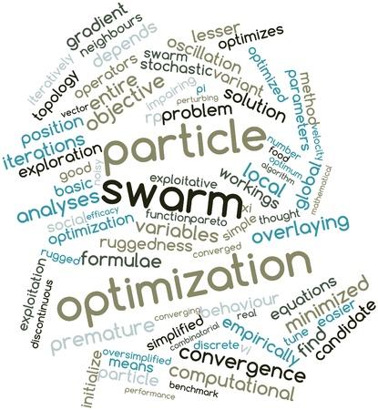 ruggedness: Word cloud astratto per l'ottimizzazione sciame di particelle con tag correlati e termini Archivio Fotografico