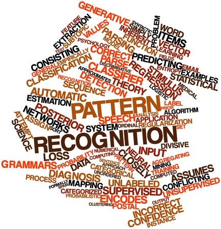 reconocimiento: Nube palabra abstracta para el reconocimiento de patrones con las etiquetas y términos relacionados Foto de archivo