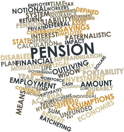 portability: Abstract word cloud for Pension with related tags and terms Stock Photo