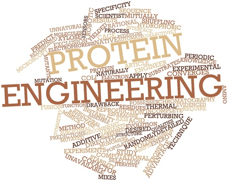 yielded: Abstract word cloud for Protein engineering with related tags and terms Stock Photo