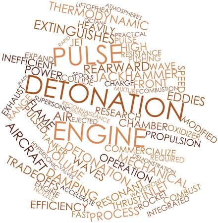 detonation: Abstract word cloud for Pulse detonation engine with related tags and terms