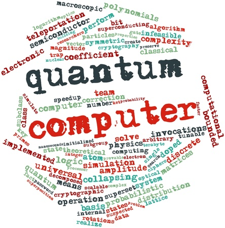 superposition: Abstract word cloud for Quantum computer with related tags and terms