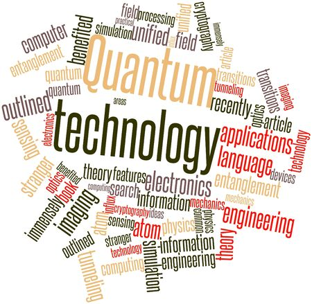 Abstract word cloud for Quantum technology with related tags and terms photo