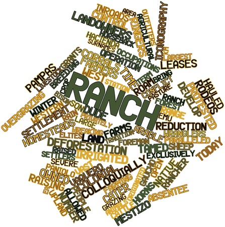 leases: Abstract word cloud for Ranch with related tags and terms