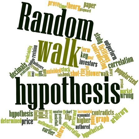 hipotesis: Nube palabra abstracta para la hip�tesis de paseo aleatorio con etiquetas y t�rminos relacionados Foto de archivo