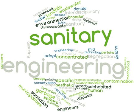 sanitary engineering: Abstract word cloud for Sanitary engineering with related tags and terms Stock Photo