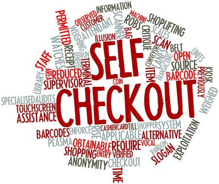 critique: Abstract word cloud for Self checkout with related tags and terms