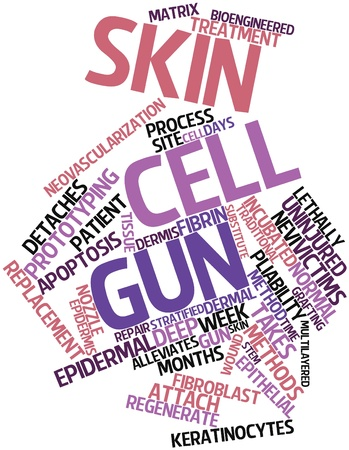 endothelial: Abstract word cloud for Skin cell gun with related tags and terms