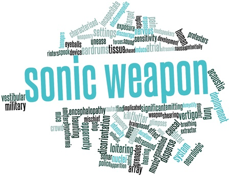 vestibular: Abstract word cloud for Sonic weapon with related tags and terms